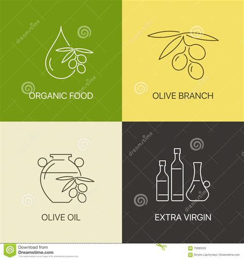 thin line logo organic olive thin line logo concept stock vector image