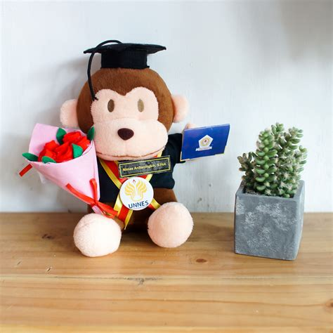 Boneka Wisuda Monyet toko kado boneka monyet small buket bunga flanel 0858