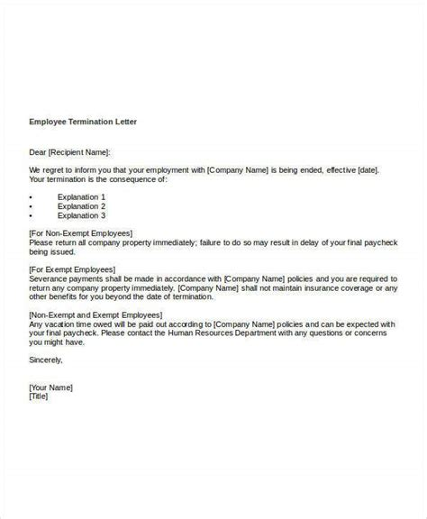 termination letter template word