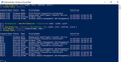 format date powershell determine the start time of a windows service with