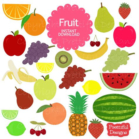 fruit clipart fruit clip grape watermelon pear strawberry cherry lemon