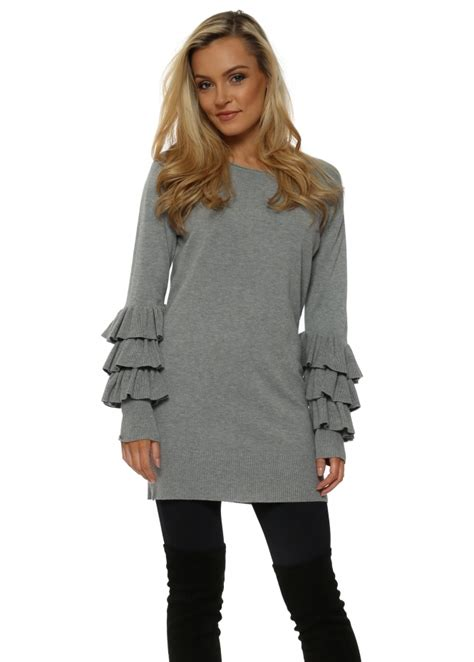 Leticia Tunic laetita mem grey frill sleeve tunic jumper