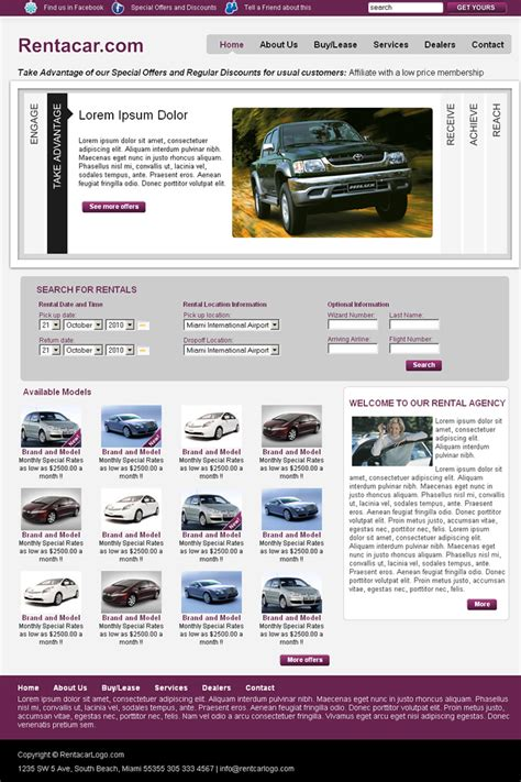 Card Business Dreamweaver Templates by Rentacar Iii Dreamweaver Templates