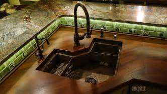 corner kitchen sinks in copper and stainless steel that
