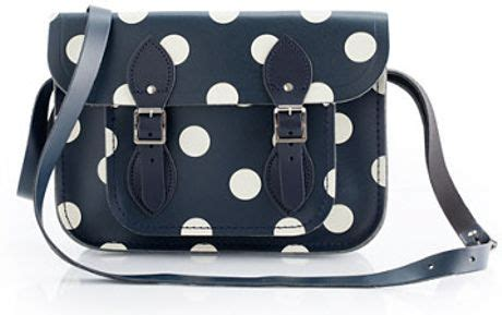 Fossil Satchel Navy Polkadot j crew the cambridge satchel company for crewcuts polkadot satchel in blue navy ivory lyst