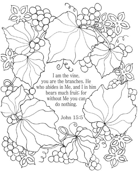 coloring pages jesus is the vine i am the vine bible coloring page for adults john 15 5