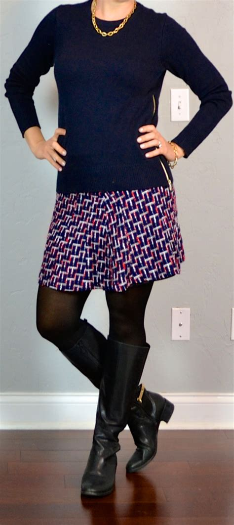 outfit post navy zipper sweater jacquard weave skirt