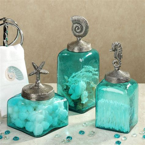 Teal Colored Bathroom Accessories by Sealife Glass Canister Set Aqua Set Of Three My Style