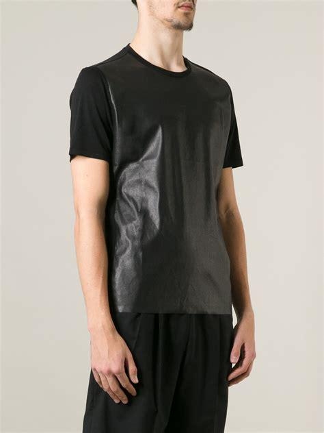Panel Shirt neil barrett faux leather panel tshirt in black for lyst