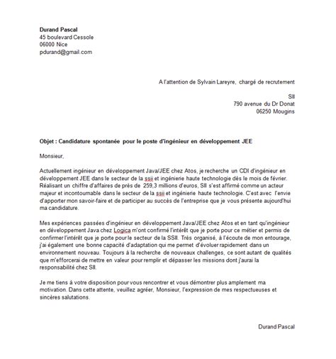 Lettre De Pr Sentation Ing Nieur candidat recrutement it
