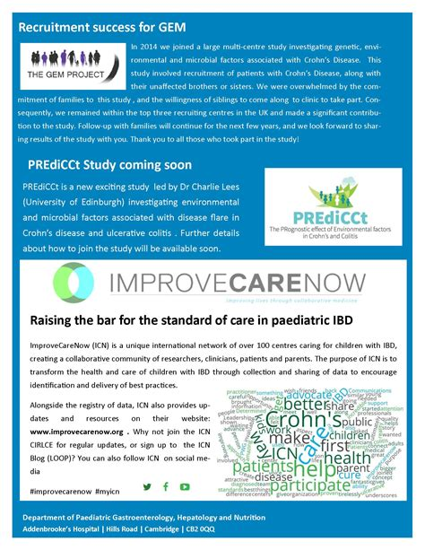 Ibd Research Newsletter Department Of Paediatrics Clinical Trial Newsletter Template