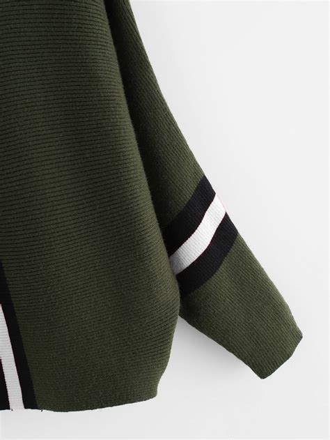 Panel Sleeve Sweater contrast striped panel batwing sleeve sweater shein