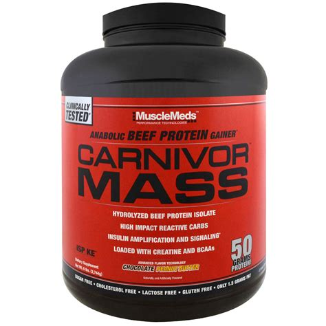 Carnivor Mass 10 Lbs Chocolate musclemeds carnivor mass chocolate peanut butter 6 lbs 2 744 g iherb
