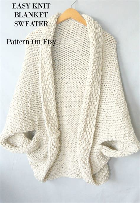 etsy knitting easy knit blanket sweater pattern in a stitch