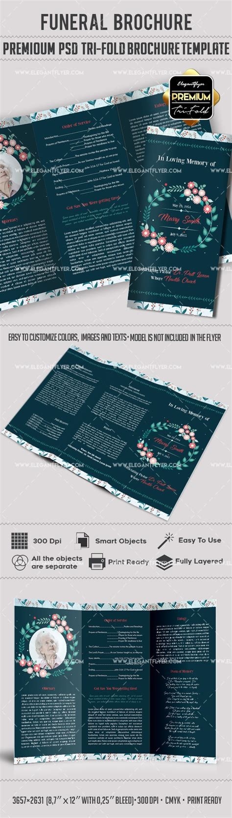 Funeral Wreath Designs Tri Fold Brochure By Elegantflyer Free Funeral Flyer Template Psd