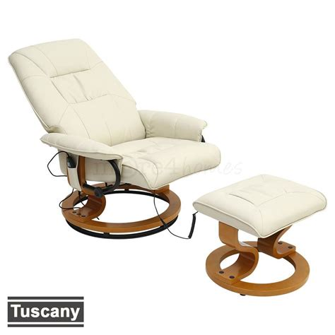 real leather recliner swivel chairs tuscany real leather cream swivel recliner massage chair w