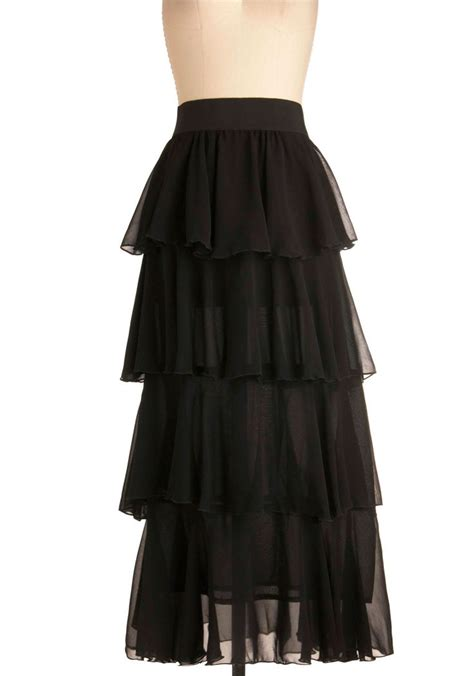 grand tier skirt long black solid tiered formal