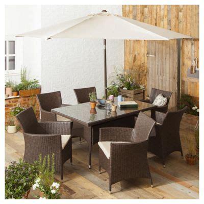buy tesco corsica  piece rattan rectangular garden dining