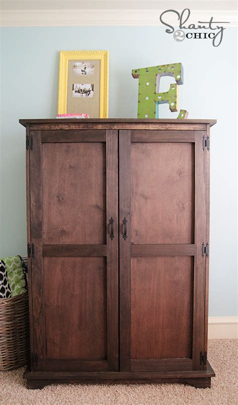 building an armoire pottery barn inspired armoire free plans shanty 2 chic