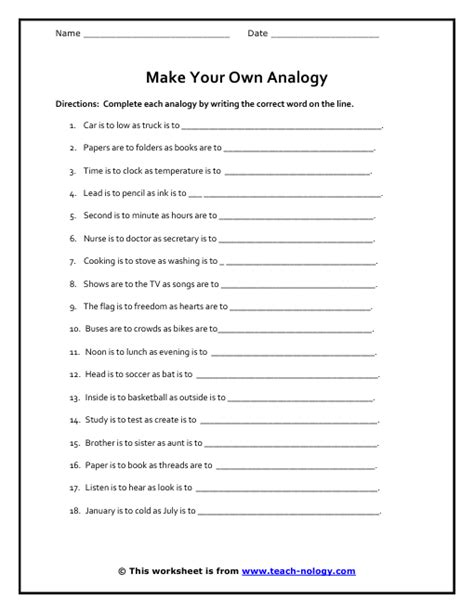 Analogy Worksheet by Make Your Own Analogy