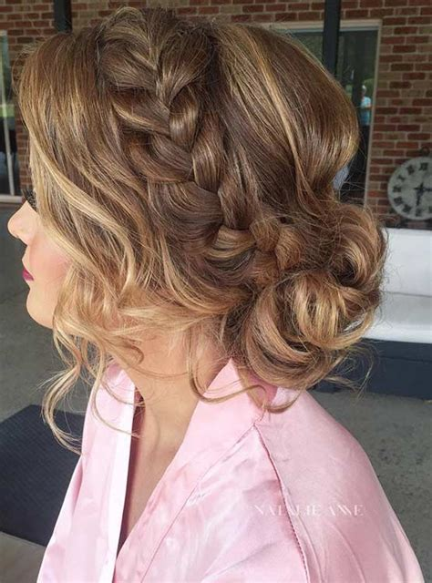 formal hairstyles messy bun with braid 27 gorgeous prom hairstyles for long hair low buns prom