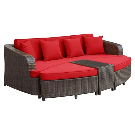 brown and red sofa monterey 4 pieces outdoor patio sofa set brown red