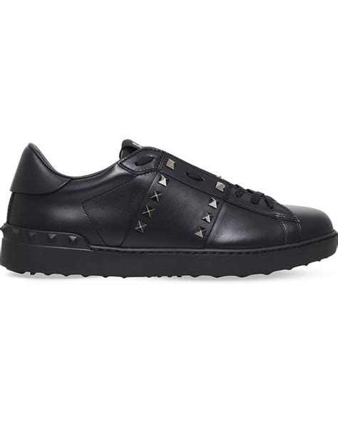 valentino rockstud studded leather tennis shoes in black