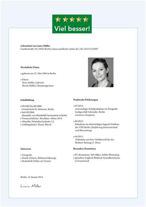 Praktikum Lebenslauf Vorlage 2015 Der Lebenslauf Bewerbungstipps Und Mustervorlagen