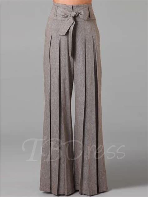 plazo for woman pleated bowknot belt palazzo women s pants tbdress com