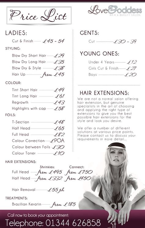 Salon Price List Flyer Pinterest Salon Price List Template