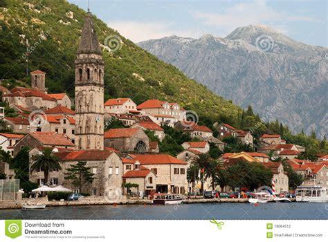 Mediterranean Beach House Plans Mediterranean Town Perast Montenegro Stock Photo