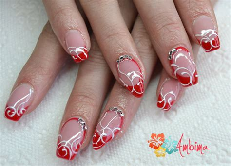 Nägel Rot Gold 4673 by Gel Nails By Ambima On Deviantart
