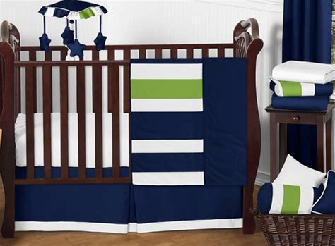Blue And Green Crib Bedding Sets Navy Blue And Lime Green Stripe Baby Bedding 11pc Crib Set By Sweet Jojo Designs Only 189 99