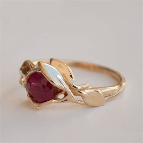 Verlobungsring Besonders by Leaves Engagement Ring 14k Gold And Ruby Engagement Ring