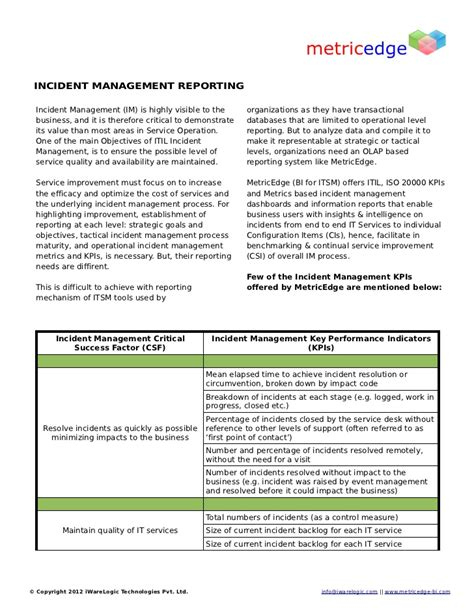 incident management report sles itil incident management reports incident management