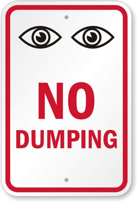 no dumping surveillance sign with eyes watching symbol