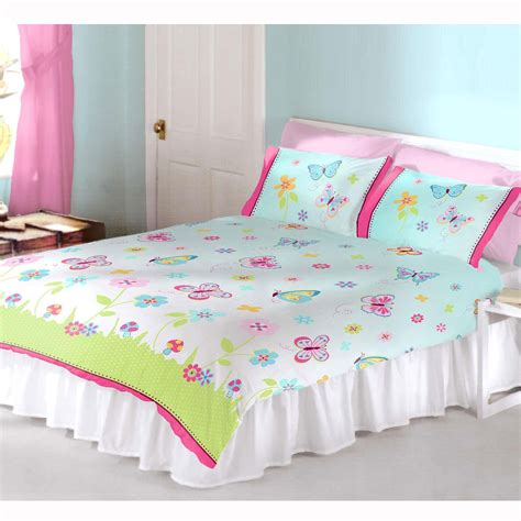 Single Bedding And Curtain Sets Butterfly Garden Bedroom Single Duvets Cover Curtains In 2 Lengths Ebay