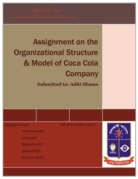 Assignment On The Organizational Structure Model Of Coca Organisational Structure Of Coca Cola