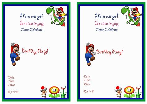 mario birthday card template mario birthday invitations mario birthday