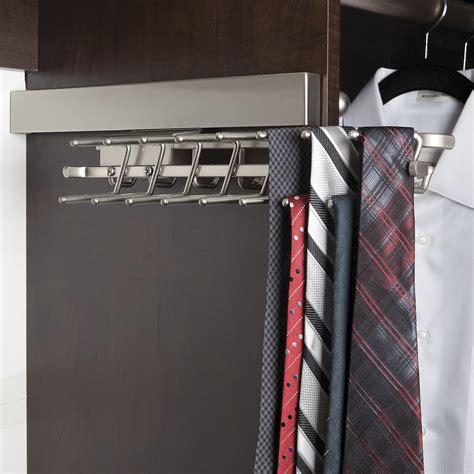 closet tie rack organizers dlx sliding tie rack 12 quot chrome