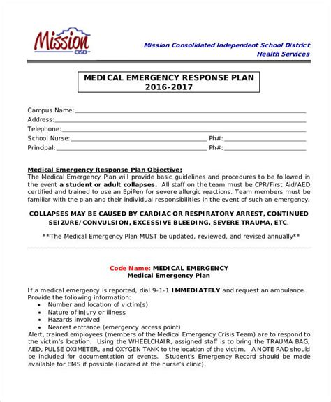emergency response plan template emergency response plan