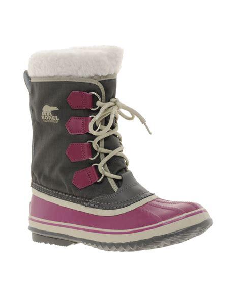 sorel winter carnival purple snow cuffed boots in gray lyst