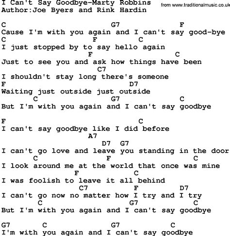 Is It When You Cant Say Goodbye by Country I Can T Say Goodbye Marty Robbins Lyrics And
