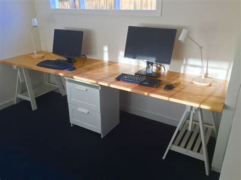 ikea office table tops home office desk made from two ikea gerton beech