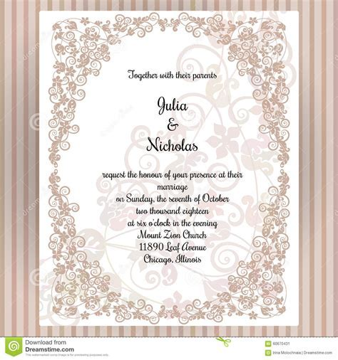 Wedding Card Template With Frame And Elegant Design Stock