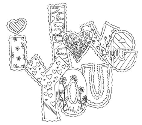 Love Coloring Pages For Adults | adult coloring page love i love you 10