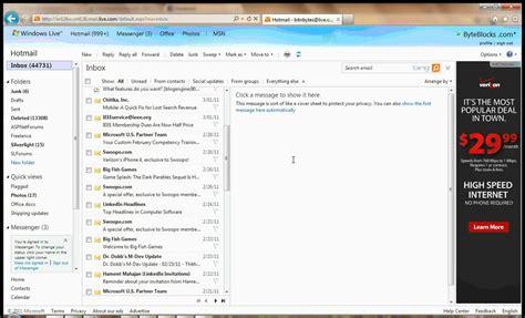 clean  hotmail inbox  youtube