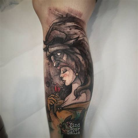 cartoons tattoo with beauty and the beast and leg tattoo