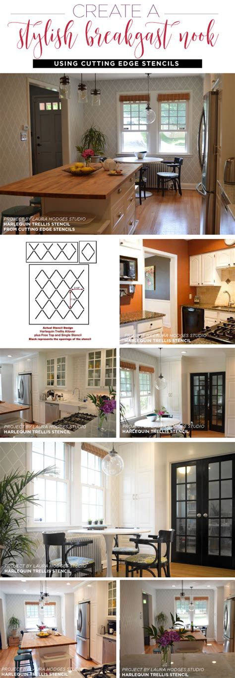 Kitchen Stencils Designs Create A Stylish Breakfast Nook Using Stencils Stencil Stories Stencil Stories