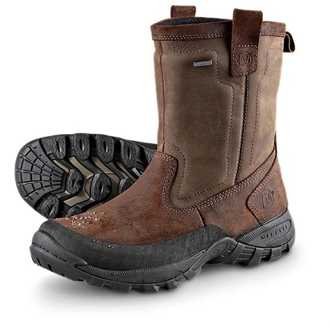 merrell mens boots s merrell 174 bergenz pull on boots brown